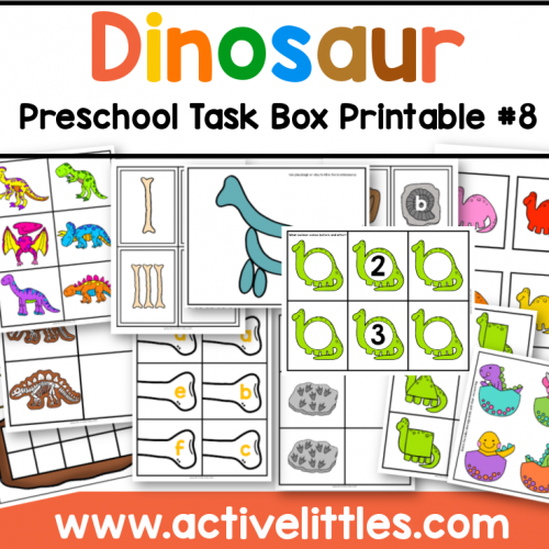 dinosaur preschool task box printable for kids - Active Littles