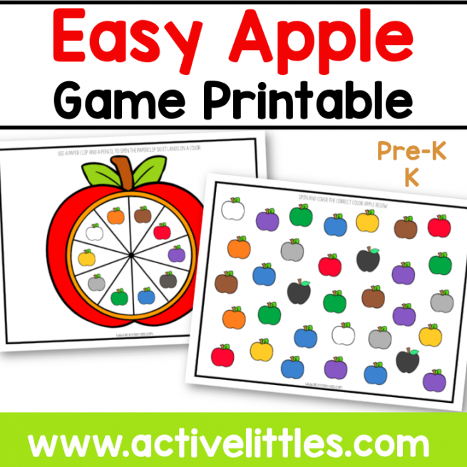 easy apple game colors printable