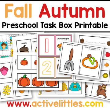 fall autumn preschool task box printable