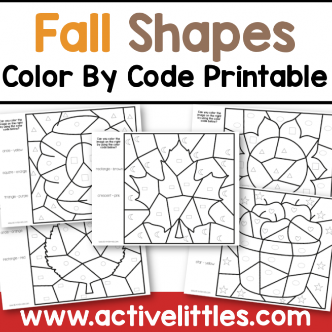 fall shapes color by code printable preschool