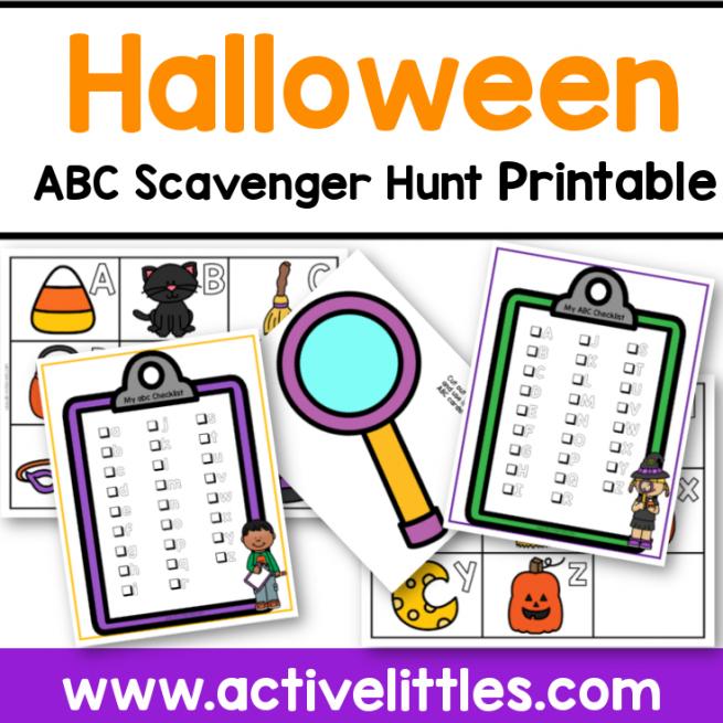 halloween abc alphabet scavenger hunt printable