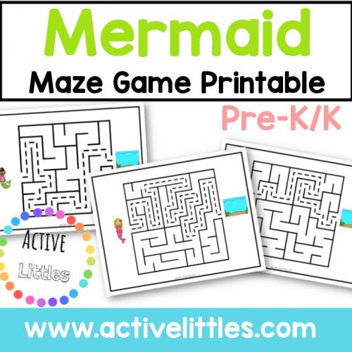 mermaid maze game printable for kids