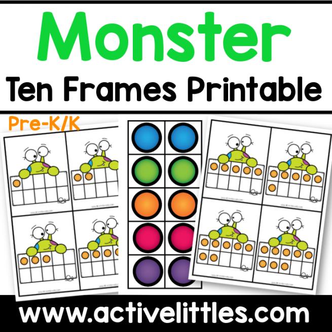 monster ten frames preschool printable
