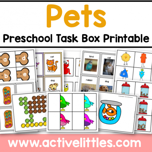 pets preschool task box printable