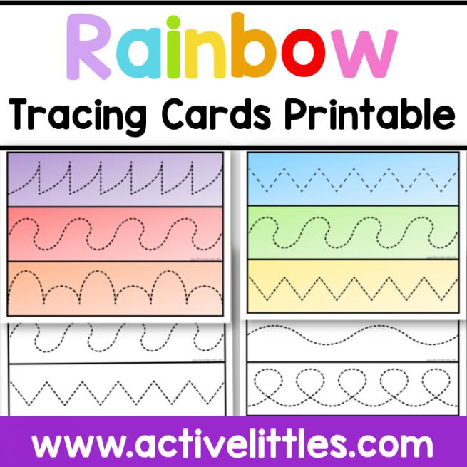 rainbow tracing cards printable for kids