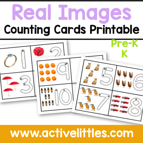 real images counting cards printable for kids