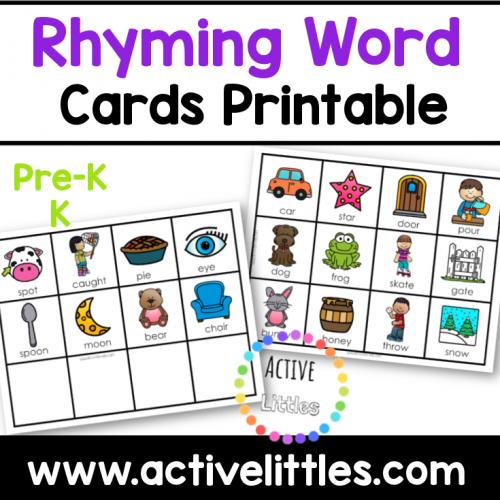 rhyming word cards printable for kids