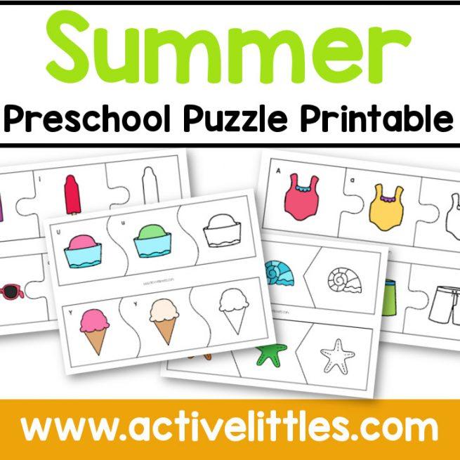 summer preschool puzzle printable