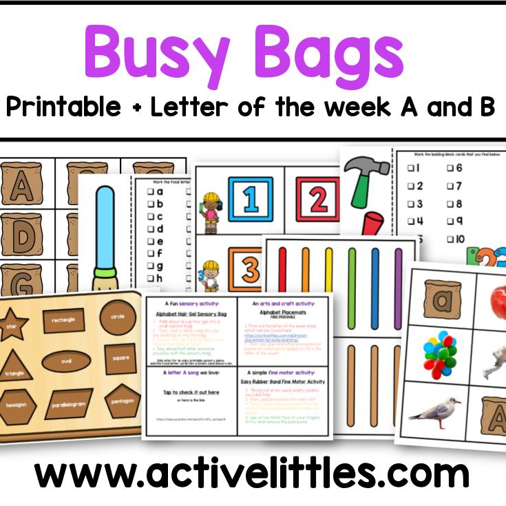 busy bags ideas preschool printables