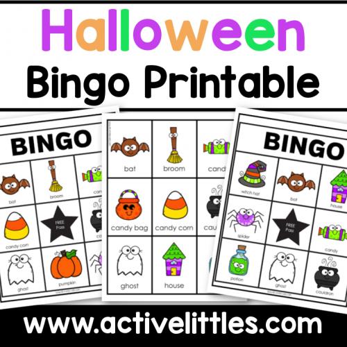 halloween bingo toddler preschool printable
