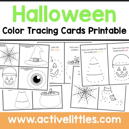 halloween color tracing cards preschool printable
