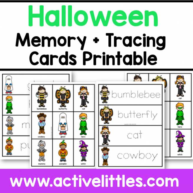 halloween costume memory cards tracing cards printable