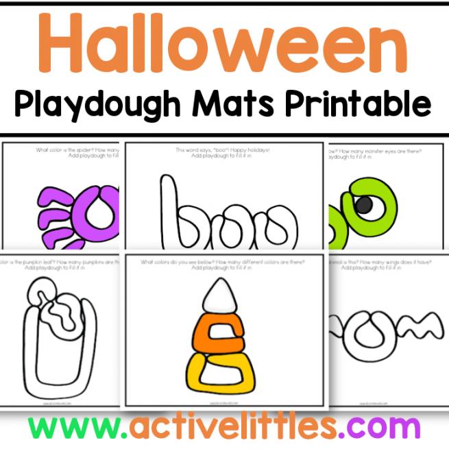 halloween playdough mats toddler printable