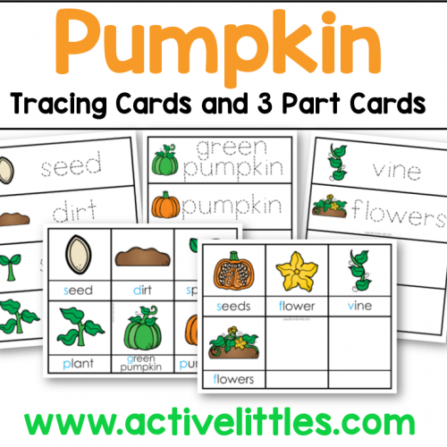 pumpkin tracing cards and 3 part cards preschool printable