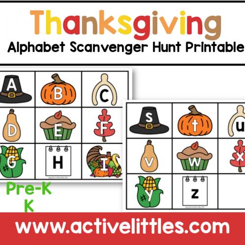 thanksgiving alphabet scavenger hunt printable