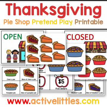 thanksgiving pretend play pie shop printable