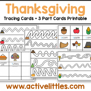 thanksgiving tracing cards and three part cards printable for kids