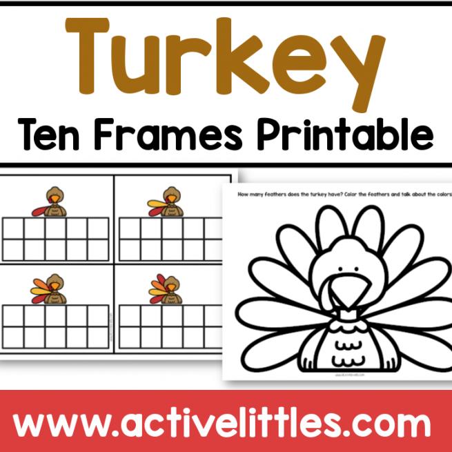 turkey ten frames thanksgiving printable
