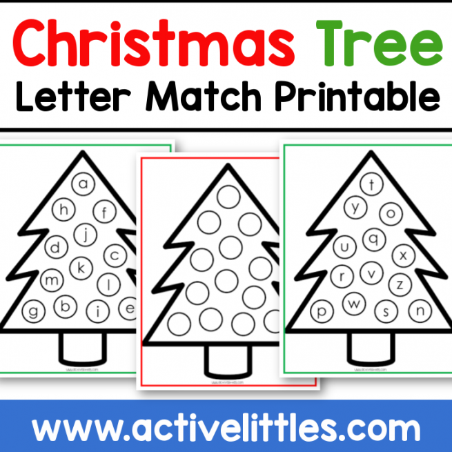 christmas tree letter match printable preschool toddlers