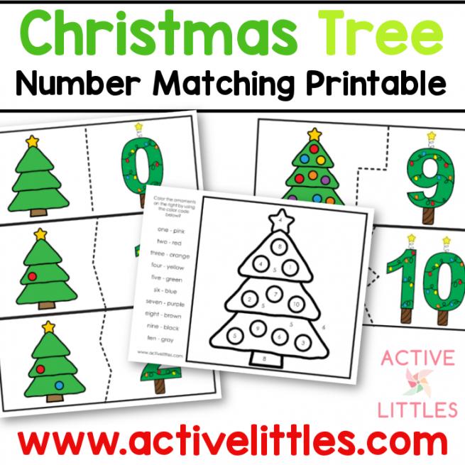 christmas tree number match preschool printable