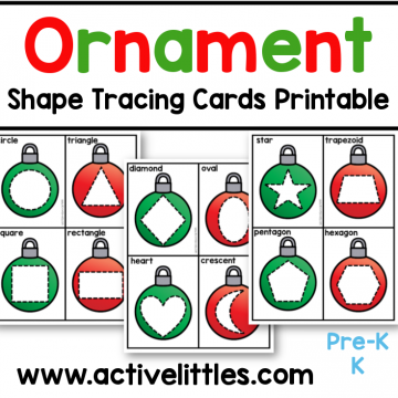 ornament shape tracing cards toddler preschool printable