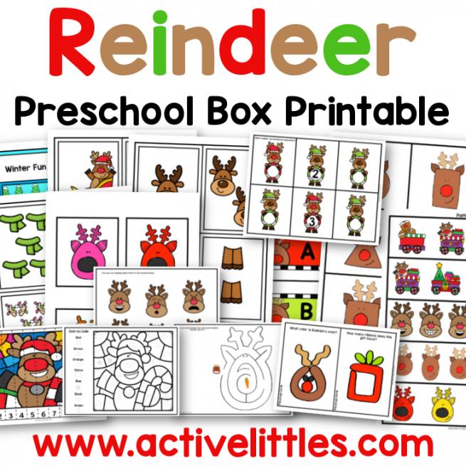 reindeer preschool task box printable