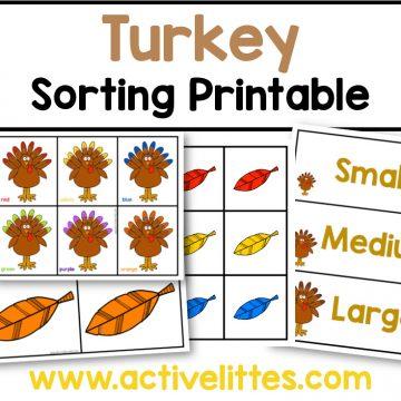 thanksgiving turkey color sort printable