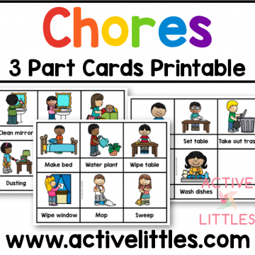 chores 3 part cards printable preschool and for kids
