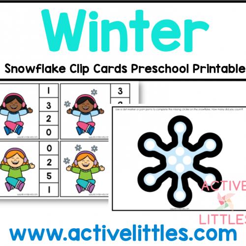 winter clip cards preschool printable