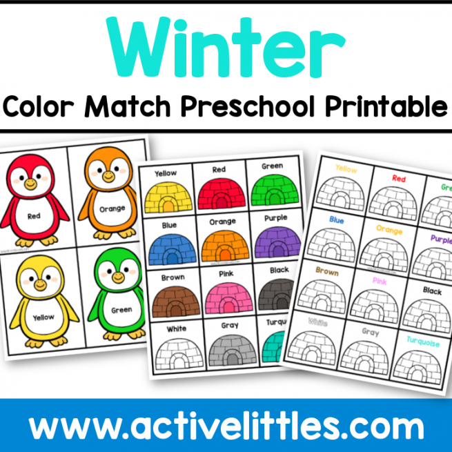 winter color match preschool printable matching printable
