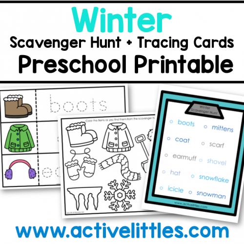 winter scavenger hunt tracing cards preschool printable