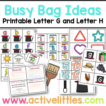 busy bag ideas printable letter g and letter h
